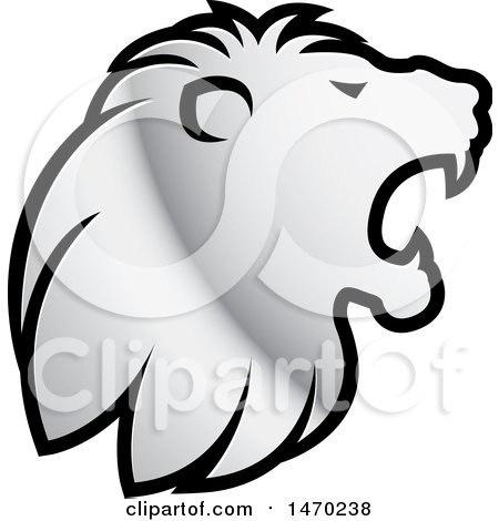 Clipart of a Silver Roaring Lion Head in Profile - Royalty Free Vector Illustration by Lal Perera