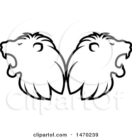 Clipart of Black and White Roaring Male Lion Heads Back to Back - Royalty Free Vector Illustration by Lal Perera