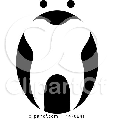 Clipart of a Black and White Abstract Tooth Design - Royalty Free Vector Illustration by Lal Perera