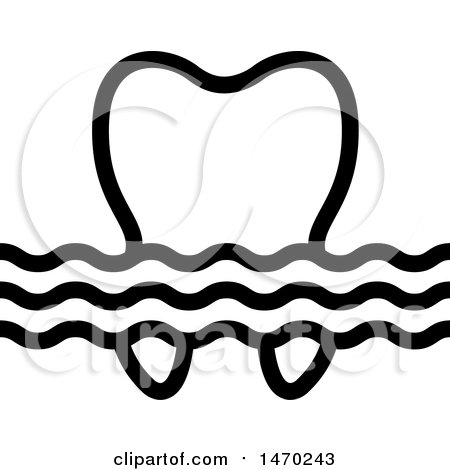 Clipart of a Black Wave and Tooth Design - Royalty Free Vector Illustration by Lal Perera