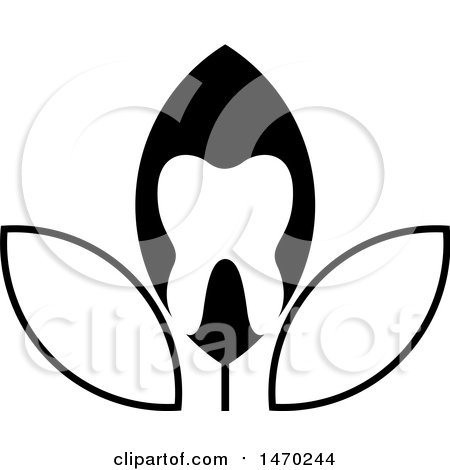 Clipart of a Black and White Leaf Tooth Design - Royalty Free Vector Illustration by Lal Perera