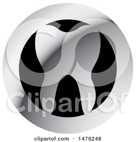 Clipart of a Round Silver and Black Tooth Design - Royalty Free Vector Illustration by Lal Perera