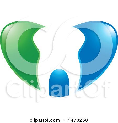 Clipart of a Human Tooth in a Blue and Green Heart - Royalty Free Vector Illustration by Lal Perera