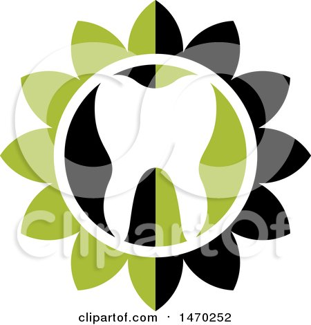 Clipart of a Human Tooth in a White, Black and Green Flower - Royalty Free Vector Illustration by Lal Perera