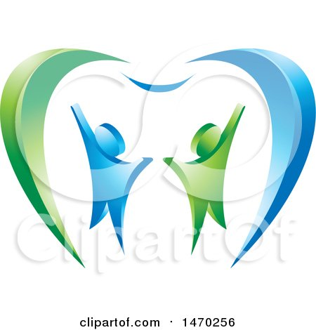 Clipart of a Blue and Green Couple and Tooth Design - Royalty Free Vector Illustration by Lal Perera