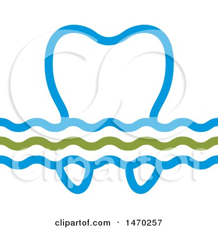 Clipart of a Blue and Green Wave and Tooth Design - Royalty Free Vector Illustration by Lal Perera
