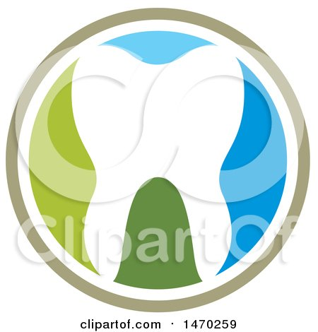 Clipart of a Round Tooth Design - Royalty Free Vector Illustration by Lal Perera