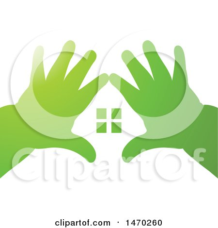 Clipart of a Pair of Kid's Hands Making a House - Royalty Free Vector Illustration by Lal Perera