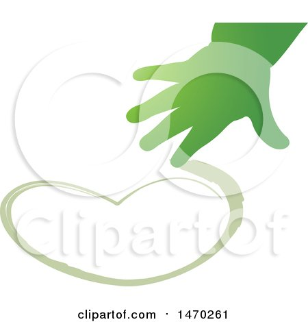 Clipart of a Green Child's Hand Drawing a Heart - Royalty Free Vector Illustration by Lal Perera