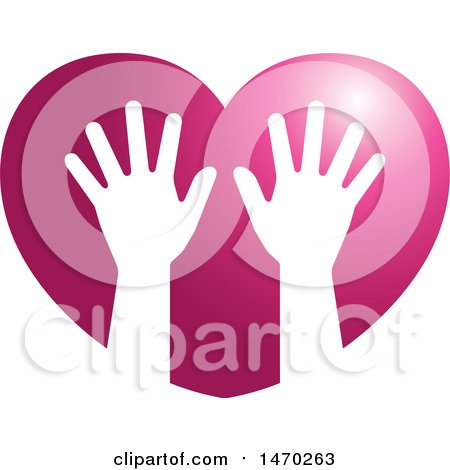 Clipart of a Pair of Silhouetted Hands in a Heart - Royalty Free Vector Illustration by Lal Perera