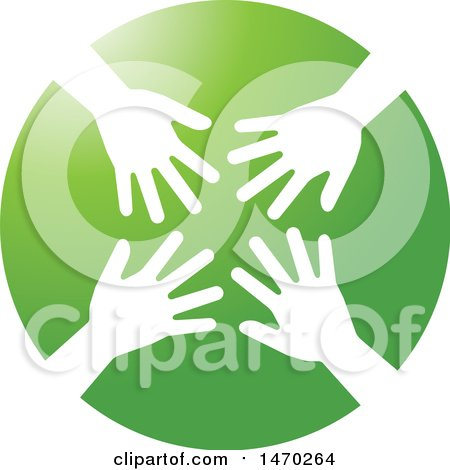 Clipart of a Green Circle with White Hands - Royalty Free Vector Illustration by Lal Perera