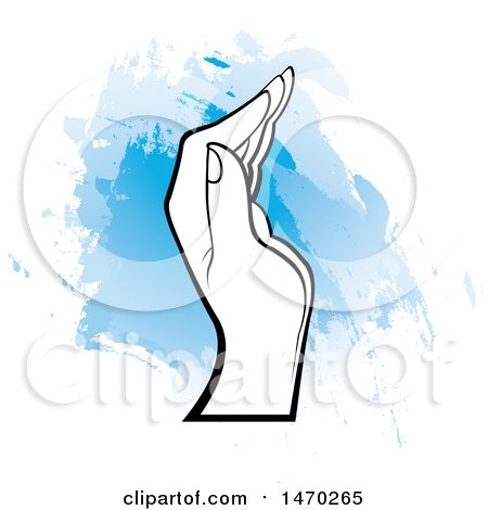 Clipart of a Black and White Human Hand over Blue Strokes - Royalty Free Vector Illustration by Lal Perera