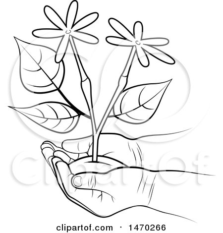 Clipart of a Pair of Hands Holding Flowers - Royalty Free Vector Illustration by Lal Perera