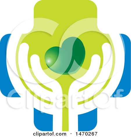 Clipart of a Pair of Abstract Hands with a Heart and Cross - Royalty Free Vector Illustration by Lal Perera