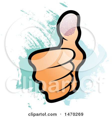 Clipart of a Hand with a Thumb Print over Blue - Royalty Free Vector Illustration by Lal Perera