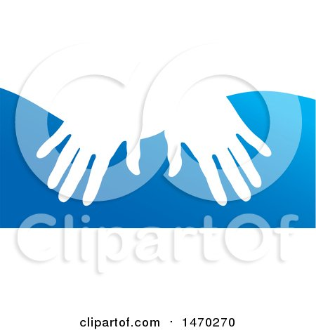 Clipart of a Pair of Hands over Blue - Royalty Free Vector Illustration by Lal Perera