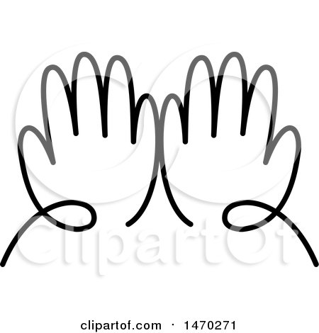 Clipart of a Pair of Black and White Hands - Royalty Free Vector Illustration by Lal Perera