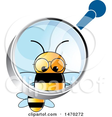 Clipart of a Bee Under a Magnifying Glass - Royalty Free Vector Illustration by Lal Perera