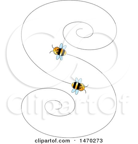 Clipart of a Letter S Formed by Flying Bees - Royalty Free Vector Illustration by Lal Perera