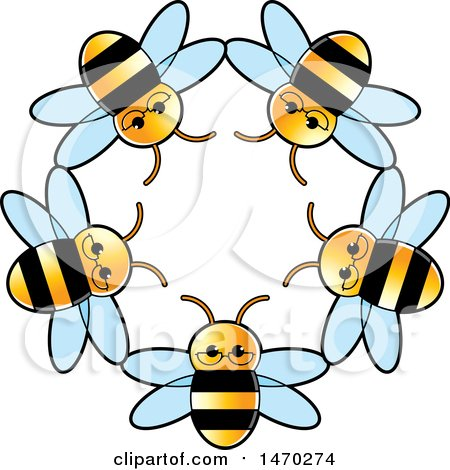 Clipart of a Circle of Bees - Royalty Free Vector Illustration by Lal Perera