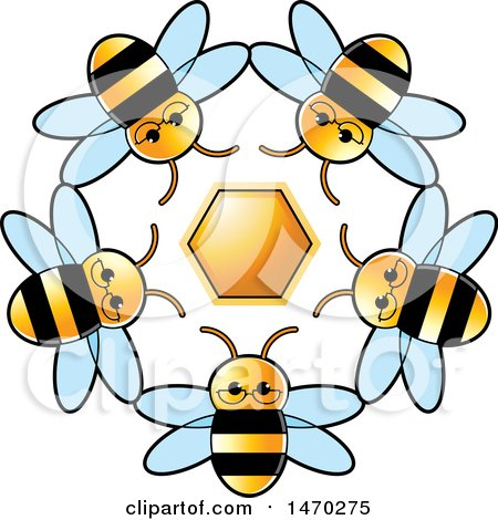 Clipart of a Circle of Bees Around a Honeycomb - Royalty Free Vector Illustration by Lal Perera