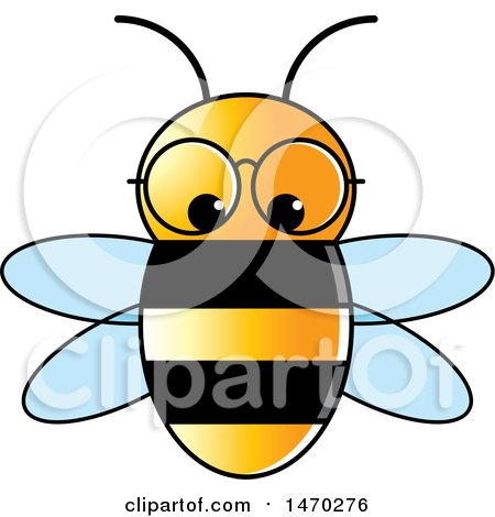 Clipart of a Bee Wearing Glasses - Royalty Free Vector Illustration by Lal Perera