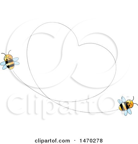 Clipart of a Heart Formed by Flying Bees - Royalty Free Vector Illustration by Lal Perera