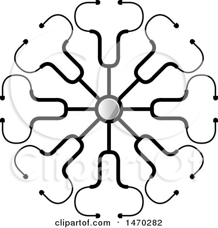 Clipart of a Circle of Stethoscopes with a Central Chestpiece - Royalty Free Vector Illustration by Lal Perera