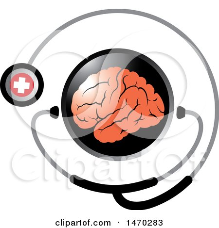 Clipart of a Stethoscope Around a Brain - Royalty Free Vector Illustration by Lal Perera
