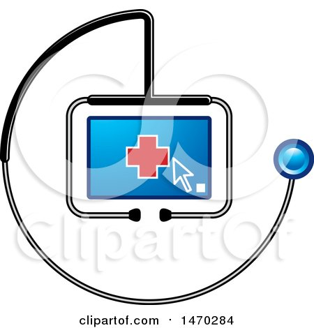 Clipart of a Stethoscope Around a Screen with a Cursor and Cross - Royalty Free Vector Illustration by Lal Perera