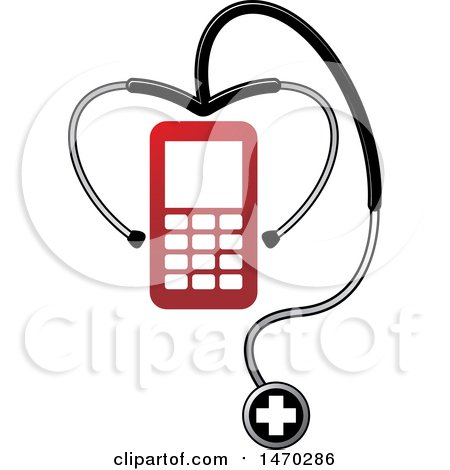 Clipart of a Stethoscope Around a Mobile Phone - Royalty Free Vector Illustration by Lal Perera