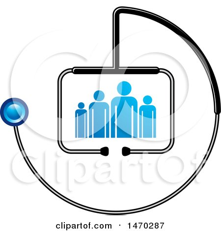 Clipart of a Stethoscope Around People - Royalty Free Vector Illustration by Lal Perera