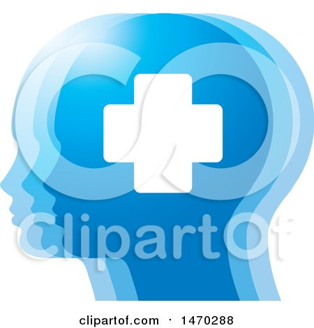 Clipart of a Blue Profiled Heads with a Cross - Royalty Free Vector Illustration by Lal Perera