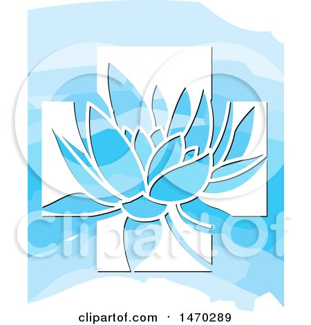 Clipart of a Water Lily Lotus Flower in a White Cross over Blue - Royalty Free Vector Illustration by Lal Perera