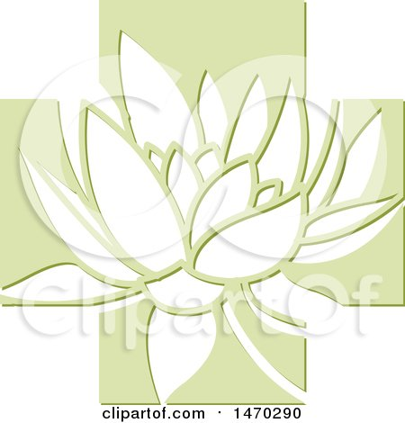 Clipart of a Water Lily Lotus Flower in a Green Cross - Royalty Free Vector Illustration by Lal Perera
