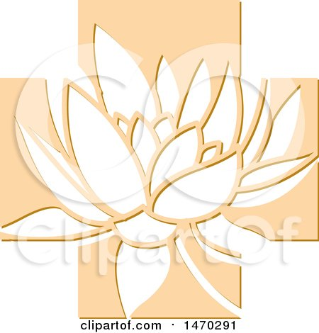 Clipart of a Water Lily Lotus Flower in an Orange Cross - Royalty Free Vector Illustration by Lal Perera