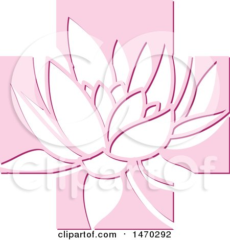 Clipart of a Water Lily Lotus Flower in a Pink Cross - Royalty Free Vector Illustration by Lal Perera