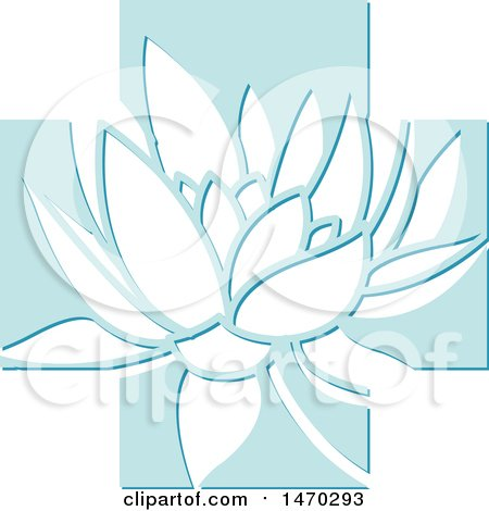 Clipart of a Water Lily Lotus Flower in a Blue Cross - Royalty Free Vector Illustration by Lal Perera