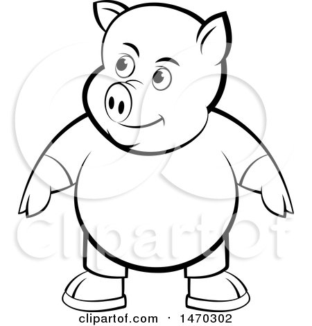 Clipart of a Black and White Pig Wearing Clothes - Royalty Free Vector Illustration by Lal Perera