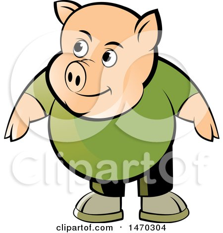 Clipart of a Pig Wearing a Green Shirt - Royalty Free Vector Illustration by Lal Perera