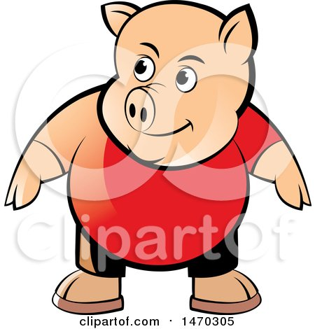Clipart of a Pig Wearing a Red Shirt - Royalty Free Vector Illustration by Lal Perera