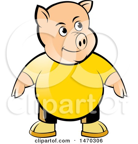 Clipart of a Pig Wearing a Yellow Shirt - Royalty Free Vector Illustration by Lal Perera