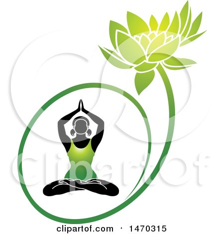 Clipart of a Silhouetted Woman Doing Yoga in a Green Water Lily Lotus Flower - Royalty Free Vector Illustration by Lal Perera
