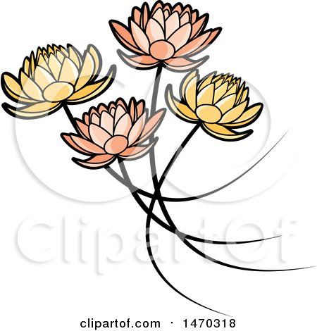 Clipart of Five Water Lily Lotus Flowers - Royalty Free Vector Illustration by Lal Perera