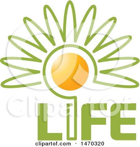 Clipart of a Flower with a Sun Center and Life Text - Royalty Free Vector Illustration by Lal Perera