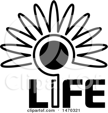 Clipart of a Black and White Flower with a Sun Center and Life Text - Royalty Free Vector Illustration by Lal Perera