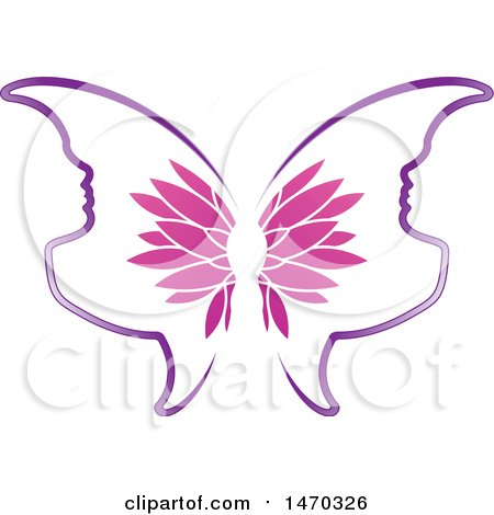 Clipart of a Floral Butterfly with Profiled Face Wings - Royalty Free Vector Illustration by Lal Perera