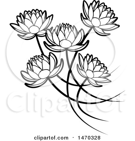 Clipart Of Black And White Five Water Lily Lotus Flowers Royalty