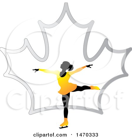 Clipart of a Silhouetted Female Figure Skater over a Silver Maple Leaf - Royalty Free Vector Illustration by Lal Perera