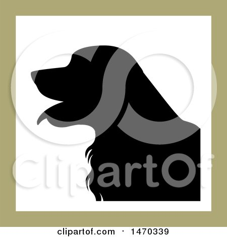 Clipart of a Black Silhouetted Golden Retriever Dog in a Square - Royalty Free Vector Illustration by Lal Perera